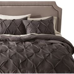 Threshold Pinched Pleat Duvet Cover Set - Gray ($68) ❤ liked on Polyvore featuring home, bed & bath, bedding, grey, duvet, pintuck, king bedding, grey pillow shams, king shams and grey duvet
