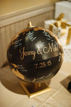 This personalized globe is a unique wedding or party guest book alternative. You can display it in your home after the wedding and be daily reminded how much you are loved and blessed by family and friends! This listing is for custom globes that require a metallic color for either the oceans or the continents. All globe guest books with 1 metallic color start at $275, which includes 1 metallic color and 1 non-metallic color for the globe, bride & grooms names and wedding date. During…