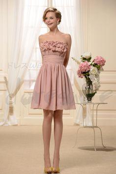 Aラインストラップレスミニシフォンブライズメイドドレス 11061990 - 人気二次会ドレス - Doresuwe.Com