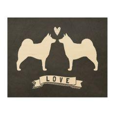 Norwegian Elkhounds Love Wood Print