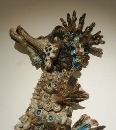 stoneware ceramic seahorse,Arte Submerso,Museu do Azulejo Stoneware, Portugal, Ceramics, Sculpture, Studio, Tiles, Art, Sculpting, Ceramic Art