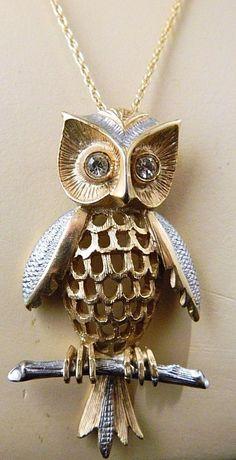 Vintage Owl Pendant Statement Necklace Rhinestone Gold Tone Retro Jewelry #Pendant