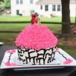 Zebra Elmo cupcake cake