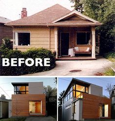 House Renovation Ideas - 17 Inspirational Before & After Residential Projects | This tiny home added modern wood siding, large windows, and another level to become a contemporary multi-story home.