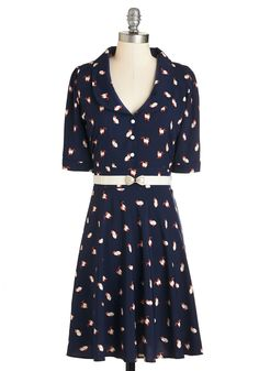 Cats What I Thought Dress. Be careful wearing this navy dress by Trollied Dolly for your besties birthday? #blue #modcloth
