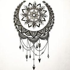 Dream Catcher Sketch, Mandala Tattoo, Zentangle, Ink, Black And White, Tattoos, Tatoo, Jewels, Tattoo Ideas