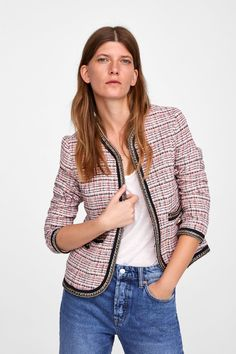 Image 2 of TWEED BLAZER WITH CHAINS from Zara How To Wear Blazers, Zara, Chanel, Tweed Blazer, Blazer Outfits, Vest Jacket, Casual Looks, Spring Fashion, Women's Fashion