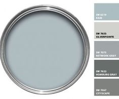 """Love the Color """"Rain"""" SW.I guess my favorite Blue. Love the Color """"Rain"""" SW.I guess my favorite Blue. Living Room Paint and Decor Interior Paint Colors, Paint Colors For Home, House Colors, Blue Gray Paint Colors, Grey Paint, Blue Gray Walls, Furniture Paint Colors, Blue Grey Rooms, Indoor Paint Colors"""