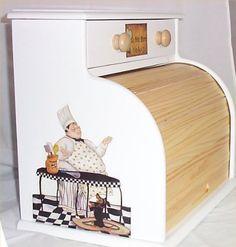 Bread Box Fat Chef White Roll Top Bistro Kitchen Blk $42.99