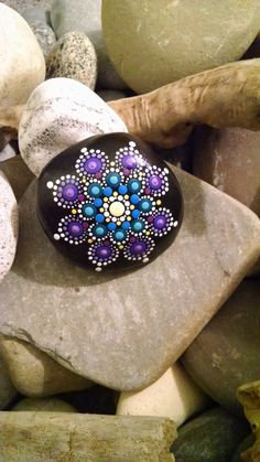 Hand Painted Beach Stone ~ Purple & Turquoise Mandala Flower ~ Home Decor