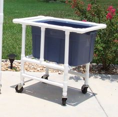 DIY - How to make a PVC tote cart  This would also be great for keeping beverages in ice at a party