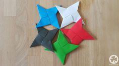 Detallierte Schritt-für-Schritt Bastelanleitung für einen Origamie Ninja Wurfstern aus Papier mit viele Fotos und Tipps.