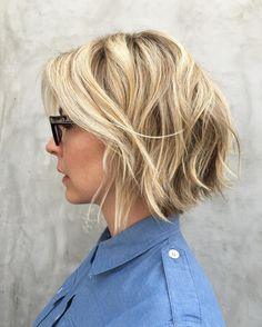 Blonde+Layered+Bob+With+Highlights