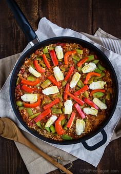 Brown Rice Vegetable Paella, a #vegan #recipe