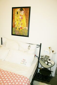 Prints ironed onto my pillows with transfer paper.