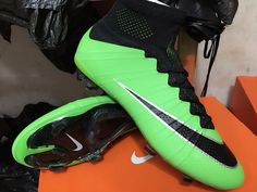 Cool Nike Mercurial Superfly FG Soccer Cleats Green White Black