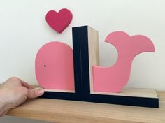 Whale Bookends, Pink and Navy Blue, Children's Bookends, Girls Nautical Room Decor, Nautical Nursery Decor