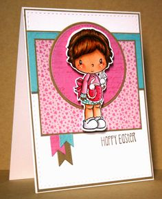 C.C. Designs Lucy with Bunnies, coordinating outline die, and Hopped Up sentiment stamp set by Kim O'Connell