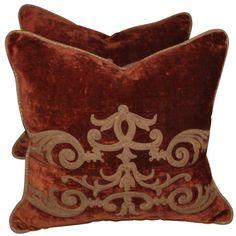 Pair of 19th Century Embroidered Velvet Pillows