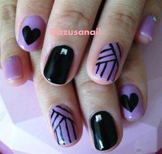 purple and black nail art❤ by azusa - Nail Art Gallery nailartgallery.nailsmag.com by Nails Magazine www.nailsmag.com #nailart