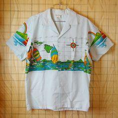ビンテージUSA古着HAWAII製半そで総柄ハワイアン・アロハシャツ