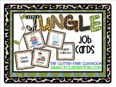 JOB CHART for a JUNGLE ~ SAFARI CLASSROOM THEME