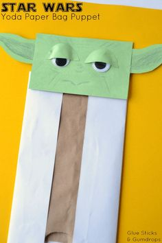 This Star Wars inspired Yoda paper bag puppet is such a fun craft for kids! If your kids are Star Wars fans, they'll love making this Yoda paper bag puppet. It's really easy and can provide hours of play and fun. Fun Crafts For Kids, Craft Activities For Kids, Art For Kids, Arts And Crafts, Star Wars Art Projects For Kids, Craft Ideas, Children Crafts, Simple Crafts, Kid Art