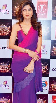 Shilpa Shetty at a Gulshan Kumar tribute concert. #Bollywood #Fashion #Style #Beauty #Hot #Desi #Saree
