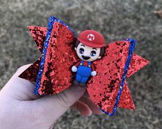Outfits and bows for girls por ElliesAtticBoutique Glitter Fabric, Blue Glitter, Diy Leather Bows, Bow Skirt, Super Mario Party, Felt Hair Clips, Boutique Hair Bows, Clay Figures, Christmas Bows