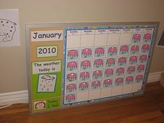 simple calendar activity and days of the week song.