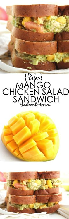 Mango and avocado combine to create this delicious chicken salad recipe--it's healthy and #Paleo too