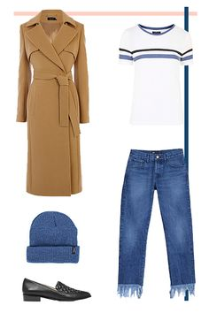 The Errand-Runner. You know the drill with errands in transitional weather — you're running around and suddenly start profusely sweating, then you're shivering, and then you're a teapot whistling again. Go denim-on-denim with a beanie that compliments your jeans