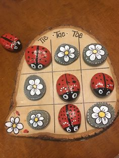 Woodworking Crafts Rotary Tool Ladybug and daisy rock tic-tac-toe. Ladybug and daisy rock tic-tac-toe.Woodworking Crafts Rotary Tool Ladybug and daisy rock tic-tac-toe. Ladybug and daisy rock tic-tac-toe. Summer Crafts, Crafts To Make, Crafts For Kids, Arts And Crafts, Pebble Painting, Pebble Art, Stone Painting, Painting Art, Rock Painting Patterns