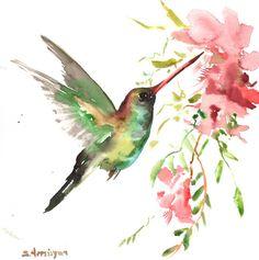 Hummingbird original watercolor painting 12 X 12 by ORIGINALONLY, $37.00