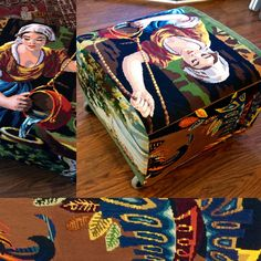 """Foot stool """"The Well"""" , an upcycled IKEA piece, now upholstered with vintage needlepoints."""