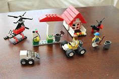 Lego City House Gas Station Cars Dog Helicopter and People Self Made | eBay