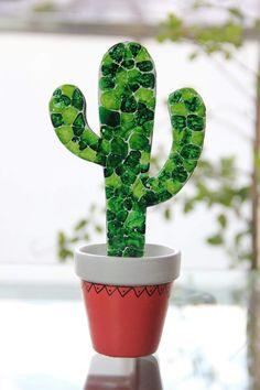 Glass Art Design, Glass Painting Designs, Glass Cactus, Glass Planter, Fused Glass Plates, Fused Glass Art, Glass Fusion Ideas, Mosaic Garden Art, Paper Plants