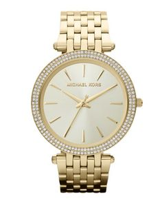 Mid-Size Golden Stainless Steel Darci Three-Hand Glitz Watch by Michael Kors at Neiman Marcus.