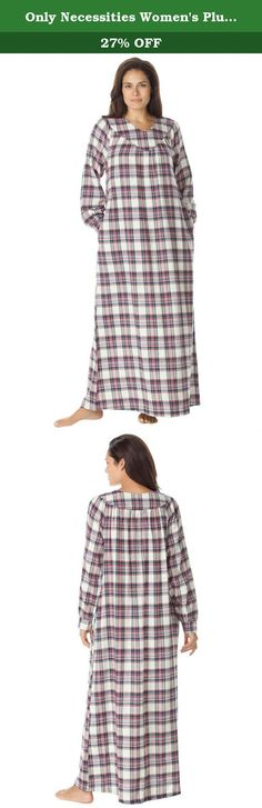 """Only Necessities Women's Plus Size Petite Flannel Plaid Gown Ivory Tartan. is yarn-dyed for truer, richer color. V-neck and yoke in front Rounded yoke in back with shirring for a full Easy sweep; side-seam pockets Woven cotton Machine wash Imported 49"""" long. Sizes:M(14W-16W), L(18W-20W), 1X(22W-24W), 2X(26W-28W), 3X(30W-32W), 4X(34W-36W), 5X(38W-40W)."""
