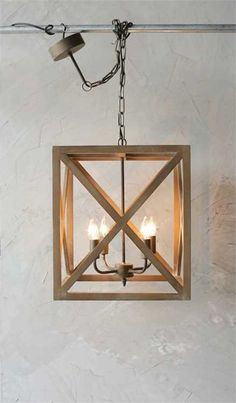 Square Wood Metal Chandelier – First of a Kind