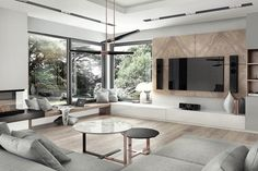 murs salon en panneaux de bois et home cinéma moderne