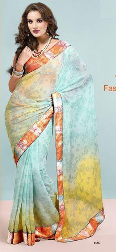 Khazanakart Heavy Worked Saree Shimmer Chiffon Saree in Yellow and Sky Blue Spray Color