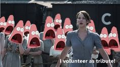 I love surprised Patrick too much. Hunger Games Humor, Hunger Games Catching Fire, Hunger Games Trilogy, Surprised Patrick, Funny Pics, Funny Pictures, Funny Things, Funny Stuff, Mockingjay Pin