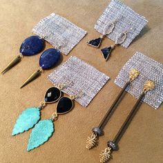 Fall Staples - Black Onyx, Brass Patina Leaf, Blue Lapis & Druzy, Gold & Silver Earrings. www.meredithjackson.com