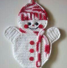 Risultati immagini per crochet pattern for snowman potholder Crochet Kitchen, Crochet Home, Knit Or Crochet, Crochet Gifts, Cute Crochet, Crochet Snowman, Christmas Crochet Patterns, Holiday Crochet, Christmas Knitting