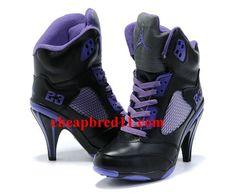 Womens Air Jordan 5 High Heels Black Purple