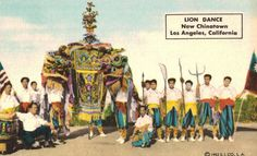 New Chinatown,Los Angeles,California,Lion Dance,Chinese New Year,1952 #na