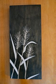 Slick and modern wall art. Crafted using inlay and relief carving. Inspired by a native relative of wheat (Elymus virginicus) Modern Wall Art, Wood Wall Art, Art Projects, Projects To Try, Native Plants, Wood Carving, Creative Ideas, Nativity, Moose Art