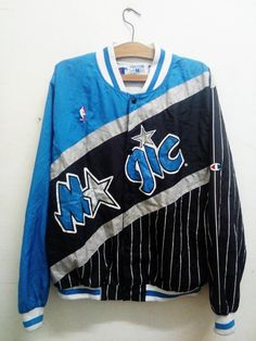 Sale Rare !! Vintage Orlando Magic Champion Nba Jacket Warmup Black Blue Stripes Mens Medium Celebrity Fashion 90's Style Sz M by Psychovault on Etsy