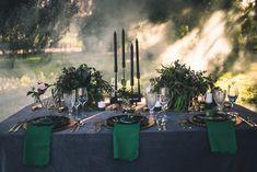 Dark Moody Black Green Gold Table Decor Candles Napkins | Edgy Emerald City Wedding Ideas http://www.yvonnegollphotography.com/